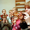 JUR01 - 20021007 - JURMALA, LATVIA: Picture dated 07 October 2002 of famous Latvian folk musician Ilga Reizniece teaching Music at a kindergarden in Jurmala.<br /> In 1981 Ilga Reizniece formed the folk ensemble ILGI. <br /> ILGI have performed in Latvia, Lithuania, Estonia, Poland, Russia, Sweden, Finland, Norway, England, Switzerland, Austria, Australia, Italy, China, Canada and the U.S.A. Their live performances in Latvia and abroad have been hailed for their astounding mastery of Latvian folk instruments, impeccable musicianship and riveting performance.<br /> EPA PHOTO / AFI / ELMARS RUDZITIS