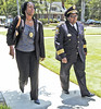 From left, Fulton County Police Dept. Major Wenda Phifer and Police Chief Cassandra Jones attends the funeral of slain Clayton County Police Officer Rick Daly.