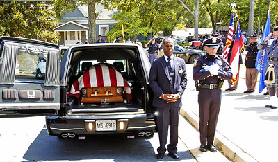 The casket in the hearse folowing the funeral of slain Clayton County Police Officer Rick Daly.