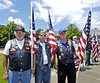 Patriot Guard Riders from left, Jack Lannen, Tom Thompson and Terry McNulty froom McDonough hold flags at the entrance to slain Clayton County Police Officer Rick Daly.