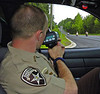 HEAT Unit Jerrod Wall running Radar in an effort to save lives and help promote motorcycle safety.