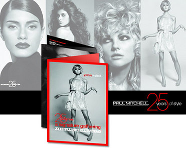 JOHN PAUL MITCHELL SYSTEMS: 25TH ANNIVERSARY CAMPAIGN / CUT'N;NDRY MAGAZINE, INVITATIONS, PACKAGING & COLLATERAL: design/layout/production