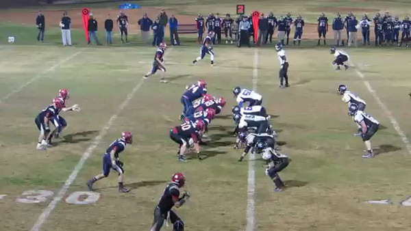 Josh Mesmer tackle for loss against Russell County.  Second round of playoffs.
