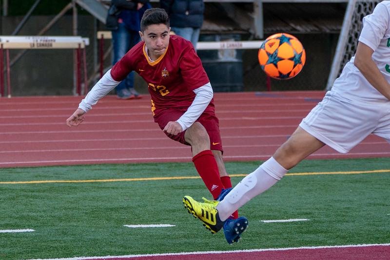 The La Canada Spartans defeat Blair High School in a varsity soccer match.