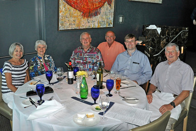 Kathy St. Vincent (Anna B); Penny Schuette; Ray Schuette (Ray) Al St. Vincent; Michael (son of Lee & Brian Johnson - New Jersey via Sydney) and Brian Johnson visiting from Sydney, Australia.  Waiter took photo with Michael's camera on Friday, June 4, 2010