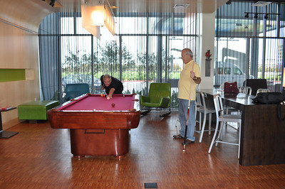 Ray & Tom shoot some pool prior to B&K Office visit.