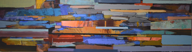 "Pontiac-Meharg, 87""x24"" painting on wood panel"