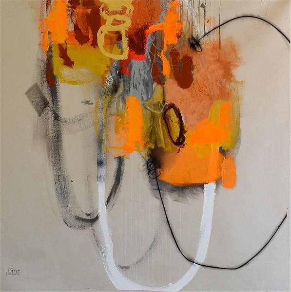 Persuasion (orange)-Stone, 48x48 painting on canvas (16-3-05)JPG