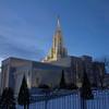 Bountiful Utah Temple in Winter at Dusk