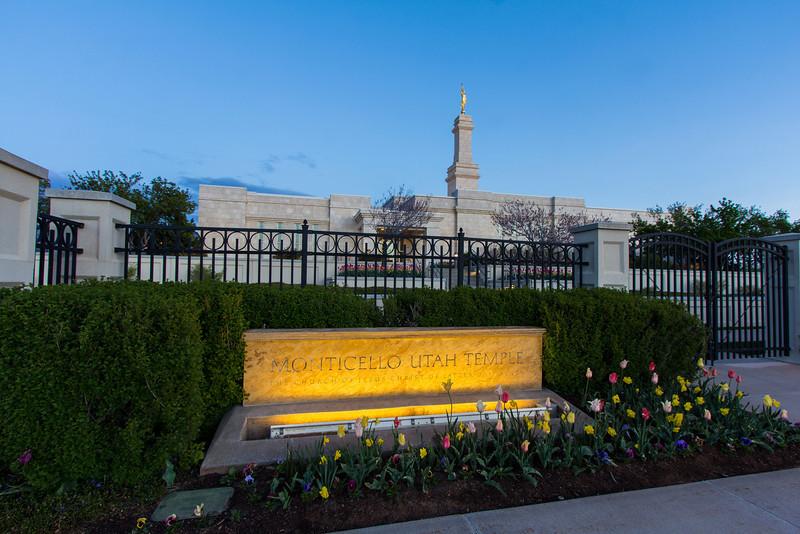 Monticello Utah Temple Sign (Dawn)
