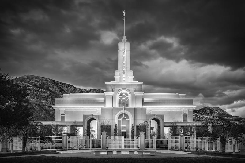 Mount Timpanogos Temple (Black and White)