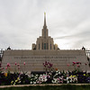 Oquirh Mountain Utah Temple Sign and Flowers