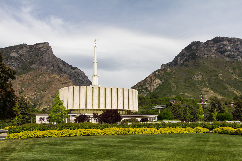 Provo Utah Temple Lawn and Mountains