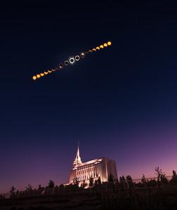Rexburg Idaho Temple Total Eclipse Phases