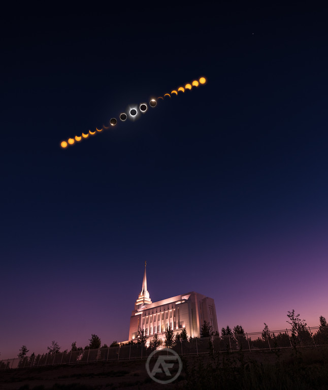 Rexburg Idaho Temple Total Eclipse Phases