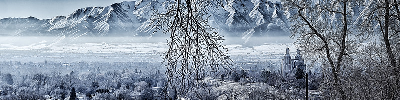Logan Temple Lightens the Smoggy Cache Valley Winter