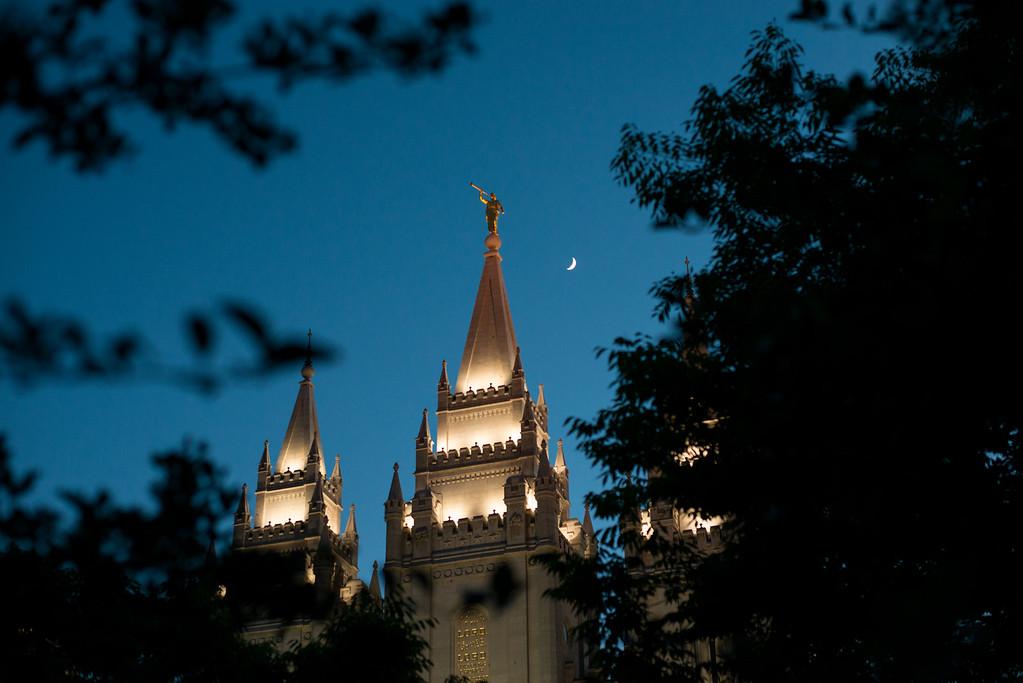 Moon over Salt Lake City Temple