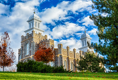 LDS Logan Temple in Fall