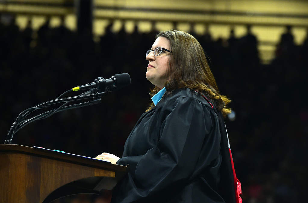 . Principle Sara Marx addresses the students at the Legacy High School Graduation at the Coors Events Center on the CU Boulder Campus Wednesday evening. For more photos go to dailycamera.com Paul Aiken Staff Photographer May 16, 2018