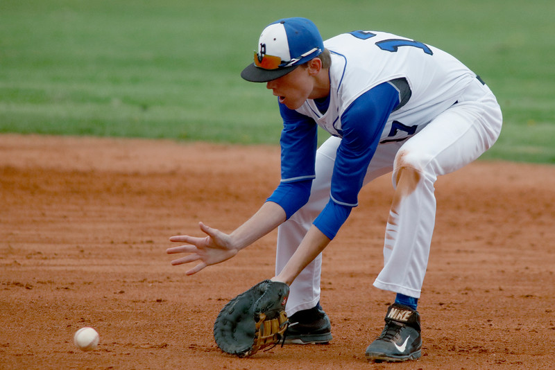 Matt Turner, Broomfield first baseman, gets control of a grounder during a game against Legacy on Saturday, May 7, 2016 in Broomfield. (Photo by Trevor Davis)