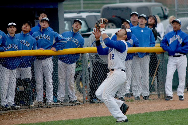 Angelo Alvarado, Broomfield third baseman, gets under a foul ball during their game against Legacy on Saturday, May 7, 2016 in Broomfield. (Photo by Trevor Davis)