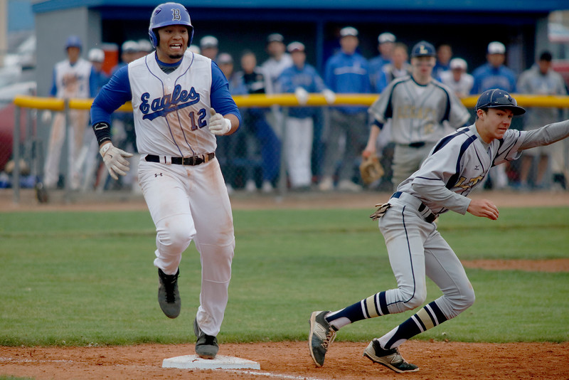 Angelo Alvarado, Broomfield third baseman, safe at first base during their game against Legacy on Saturday, May 7, 2016 in Broomfield. (Photo by Trevor Davis)
