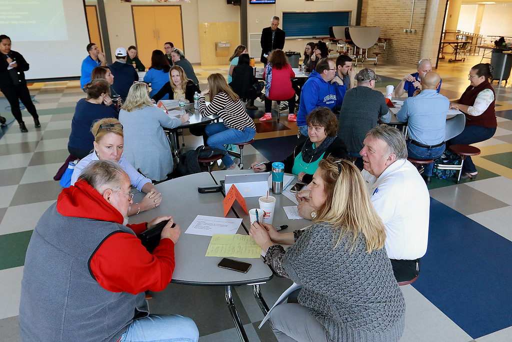 . There was a community working session for the Leominster School District on Saturday, April 6, 2019, in the high school cafe. Parents, city employees school teachers and administrators and one State Rep. made lists of what they thought the school district would be like in 2023. SENTINEL & ENTERPRISE/JOHN LOVE
