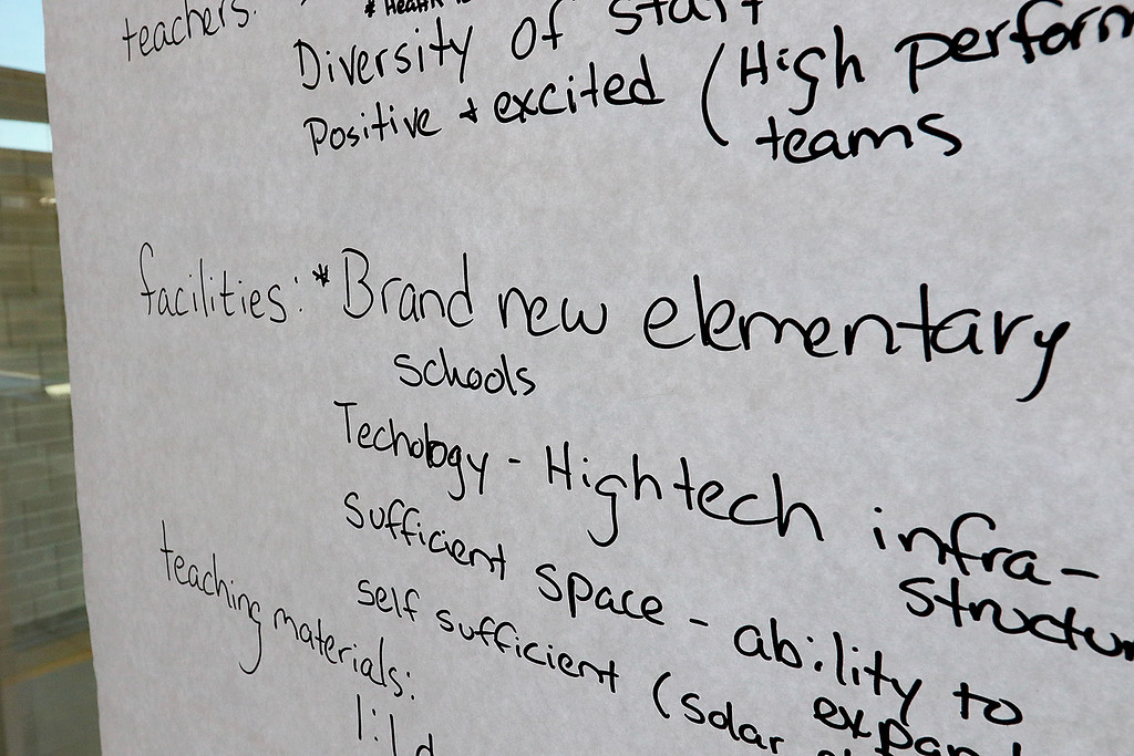 . There was a community working session for the Leominster School District on Saturday in the high school cafe. Parents, city employees school teachers and administrators and one State Rep. made lists of what they thought the school district would be like in 2023. One of the lists made during the session with what they hope to have in 2023. SENTINEL & ENTERPRISE/JOHN LOVE