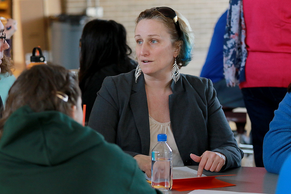 . There was a community working session for the Leominster School District on Saturday in the high school cafe. Parents, city employees school teachers and administrators and one State Rep. made lists of what they thought the school district would be like in 2023. Carrie Noseworthy a parent of a Leominster seventh and tenth graders works with her group as they come up with their list. SENTINEL & ENTERPRISE/JOHN LOVE