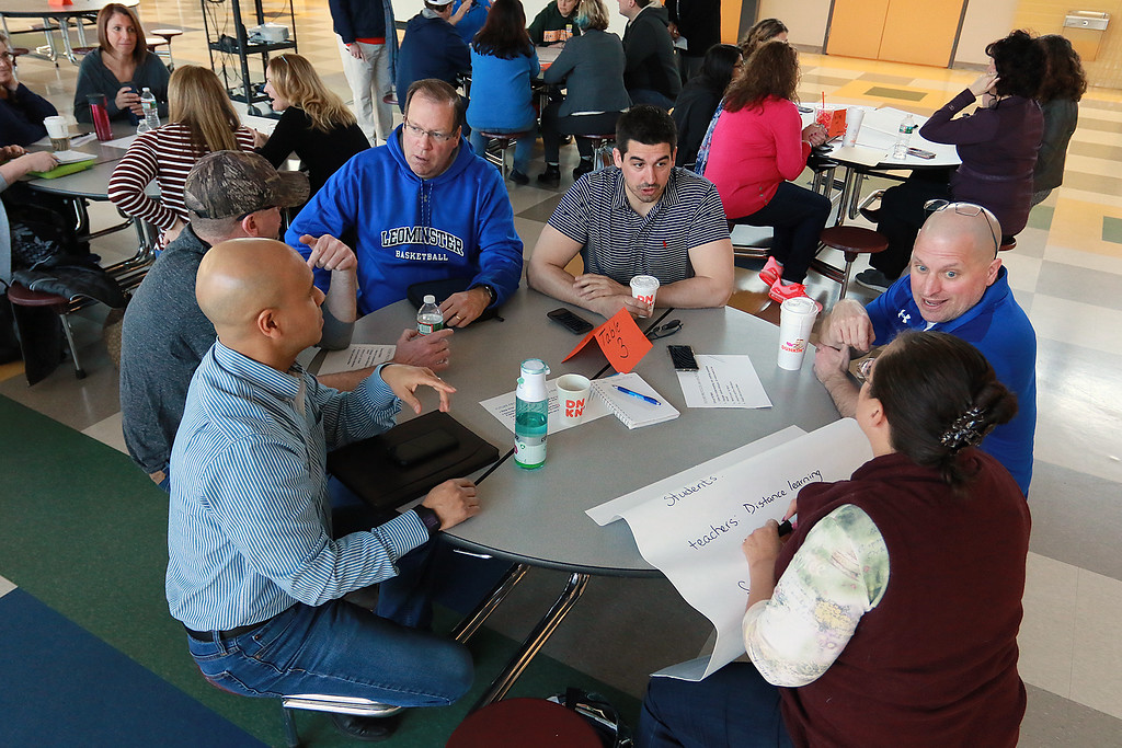 . There was a community working session for the Leominster School District on Saturday in the high school cafe. Parents, city employees school teachers and administrators and one State Rep. made lists of what they thought the school district would be like in 2023. One of the groups working on their list. SENTINEL & ENTERPRISE/JOHN LOVE