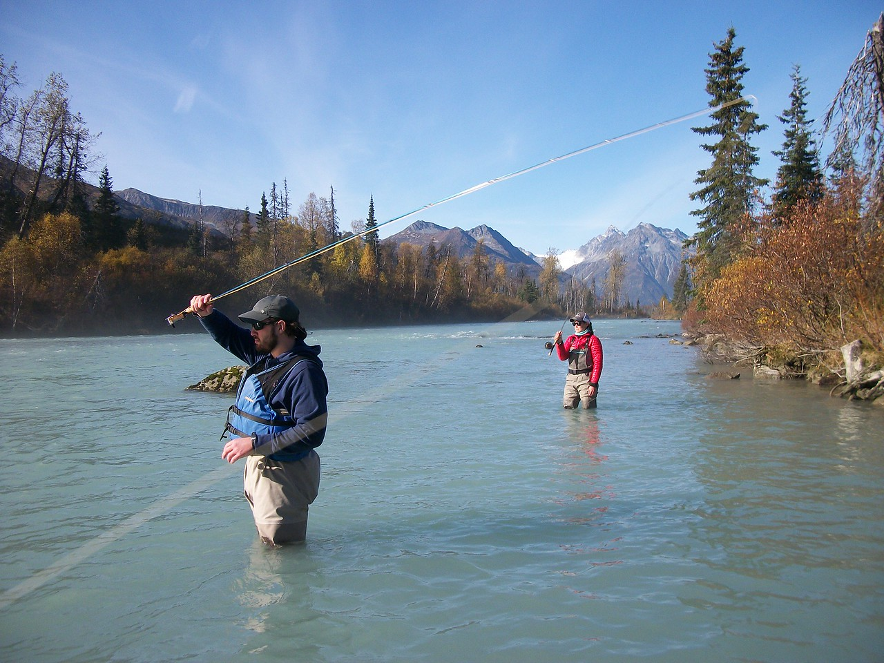 Colleen and Tyler Ferris fishing and collecting samples in Alaska