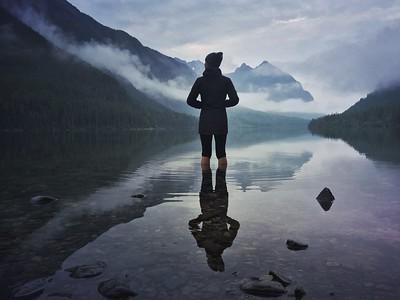 Julie Hotz at Upper Kintla Lake in Glacier NP