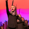 "Leominster High School Theatre Company presents ""Pippin"" on Friday night, Nov. 22, 2019 at 7 p.m. and Saturday, Nov. 23, 2019 at 7 p.m. They held a dress rehearsal on Tuesday at the school. Delia Wood, playing a soldier, sings during a scene during the dress rehearsal. SENTINEL & ENTERPRISE/JOHN LOVE"