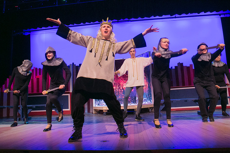 "Leominster High School Theatre Company presents ""Pippin"" on Friday night, Nov. 22, 2019 at 7 p.m. and Saturday, Nov. 23, 2019 at 7 p.m. They held a dress rehearsal on Tuesday at the school. P.J Doherty, playing King Charles, sings during a scene at the dress rehearsal. Dancing around him are some of the student actors playing soldiers. SENTINEL & ENTERPRISE/JOHN LOVE"