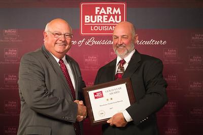 Morehouse Farm Bureau Parish President Damian Bollich accepts the Two Gold Star Award from Louisiana Farm Bureau President Ronnie Anderson.