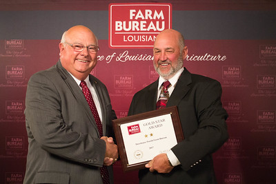 Morehouse Farm Bureau Parish President Damian Bollich accepts the Two Gold Star Award from Louisiana Farm Bureau President Ronnie Anderson.
