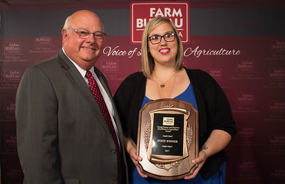 Katie Sistrunk of Iberville Parish wins the 2017 Young Farmers and Ranchers Excellence in Agriculture contest. The award was presented by Louisiana Farm Bureau President Ronnie Anderson.