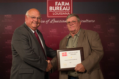 Cameron Farm Bureau Parish President James Cox accepts the Two Gold Star Award from Louisiana Farm Bureau President Ronnie Anderson.