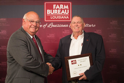 Claiborne Farm Bureau Parish President Jim Marsalis accepts the Two Gold Star Award from Louisiana Farm Bureau President Ronnie Anderson.