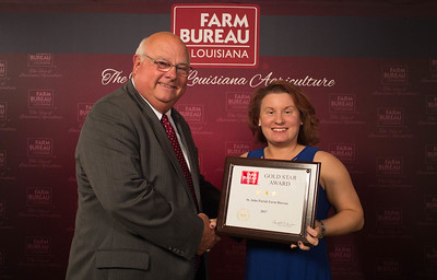 St. John Farm Bureau Parish President Cindy Perret accepts the Three Gold Star Award from Louisiana Farm Bureau President Ronnie Anderson.