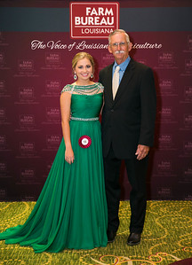 Queens Contest contestant Caroline Hardy of Jeff Davis Parish with Jeff Davis Farm Bureau Parish President Kent Brown.