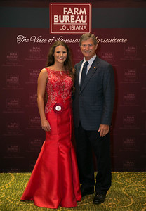 Queens Contest contestant Chase Taylor Bertrand of Rapides Parish with Rapides Farm Bureau Parish President Bill Cheek.