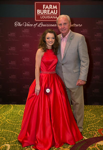 Queens Contest contestant Amanda Haley of St. Tammany Parish with St. Tammany Farm Bureau Parish President Fred Bass.