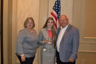 MacKenzie Roberie of St. Landry Parish is awarded for participating the 2017 Talk Meet. Contest Chair Lisa Register and Louisiana Farm Bureau President Ronnie Anderson present the award.