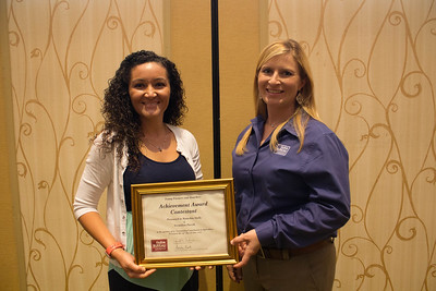 Achievement Award finalist Natachia Stelly of Vermilion Parish with YF&R chair Amelia Kent