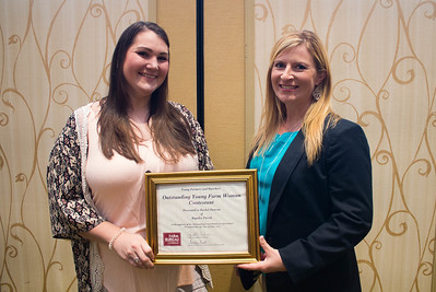 Outstanding Young Farm Woman contestant Rachel Duncan of Rapides Parish with YF&R Chair Amelia Kent