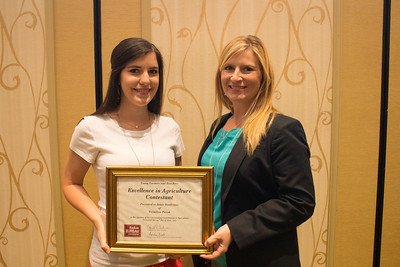 Excellence in Agriculture contestant Jamie Boudreaux of Vermilion Parish with YF&R chair Amelia Kent