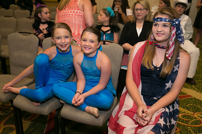 Junior Talent Contest contestants Madison Claire Manuel and Eva Meyer of Acadia Parish and Macy Bergeron of Pointe Coupee Parish were waiting back stage for the competition to begin.
