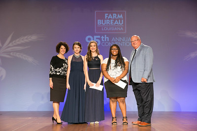 The 2017 Senior Contest Winners - Jillian Coco of Assumption Parish, Aneliese Hebert of Vermilion Parish and Ahnyyah Hunter of Lafourche Parish. Presenting their awards are Louisiana Farm Bureau Women's Leadership Committee State Chair Denise Cannatella and Louisiana Farm Bureau President Ronnie Anderson.