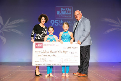 Madison Claire Manuel and Eva Meyer of Acadia Parish were named the second place winners of Junior Talent Contest. Presenting their award are Louisiana Farm Bureau Women's Leadership Committee State Chair Denise Cannatella and Louisiana Farm Bureau President Ronnie Anderson.